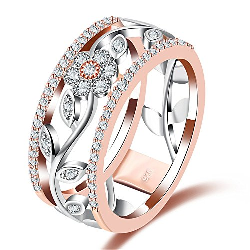 Mrsrui Filigree Rose Flower Leaf Band Style Promise Ring Rose Gold Jewelry Women Fashion