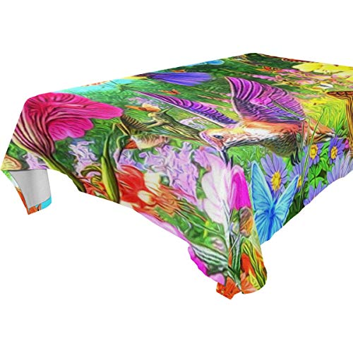 Table Cloth Forests Birds Animals Rectangle/Oblong Polyester Tablecloth Washable Table Cover for Dinner Picnic, Buffet Table, Parties