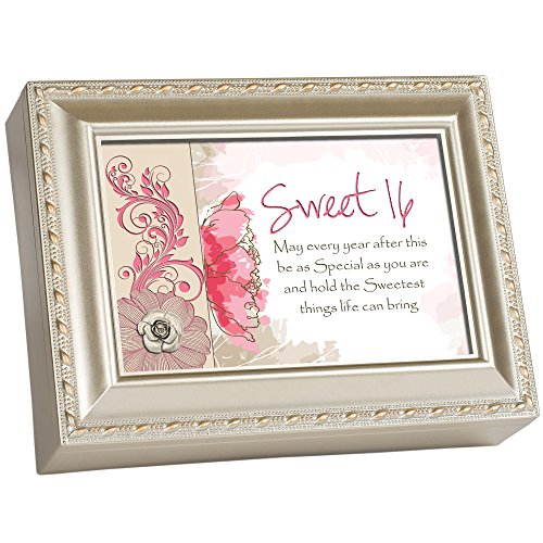 (Sweet Sixteen Pink Floral Champagne Silver Finish Jewelry Music Box Plays You Light Up My Life)