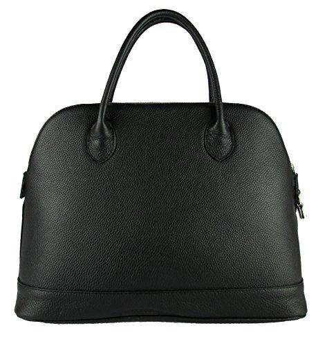 borsa da donna grande classica elegante vera pelle made in italy bugatti ispired nero