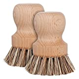 Redecker Natural Fiber Bristle Pot Brush, Set of 2, Durable Untreated Beechwood Handle, Heat-Resistant Union Fiber Head, Made in Germany
