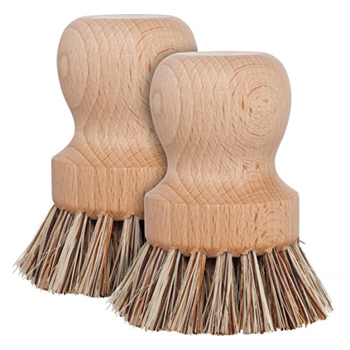 REDECKER 2-1/4 Inch Diameter Natural Fiber Bristle Pot Brush, Set of 2