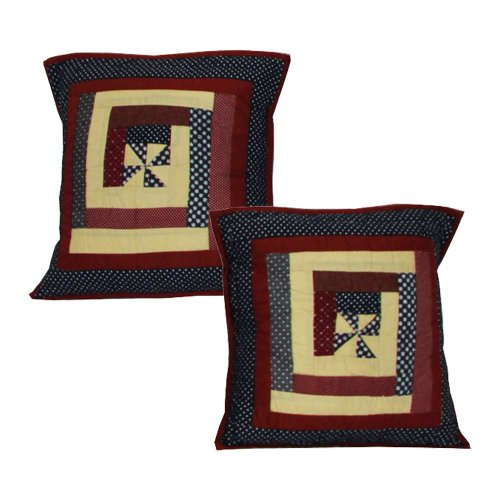 Midnight Log Cabin Toss Pillow 16