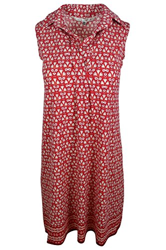 (Max Studio Women's Red Floral Border Print Shirt Collar Jersey Shift Dress, S)