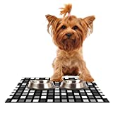 Kess InHouse Trebam Plocica Pet Bowl Placemat for Dog and Cat Feeding Mat, 24 by 15-Inch, Gray Grid