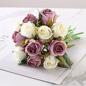 12PCS/Lots Artificial Rose Flowers Wedding Bouquet Royal Rose Silk Flowers For Home Decoration Wedding Party Decor 5