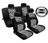 zebra stripe seat covers - 13 Piece Zebra Stripes Print Accent Fur Black Mesh Cool Breeze Animal Print Seat Cover Set Universal Fit (Black and White Zebra Print)