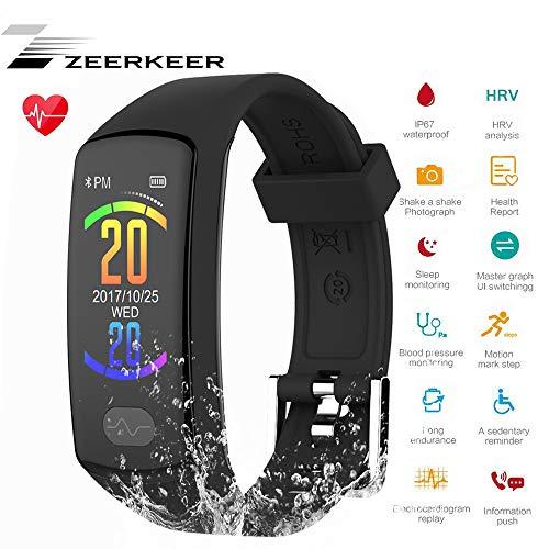 Fitness Tracker, ZEERKEER Bluetooth Smart Bracelet ECG PPG Blood Pressure Sleep Monitor, Heart Rate IP67 Waterproof Activity  Tracker , Smart Watch for Men, Women and Kids