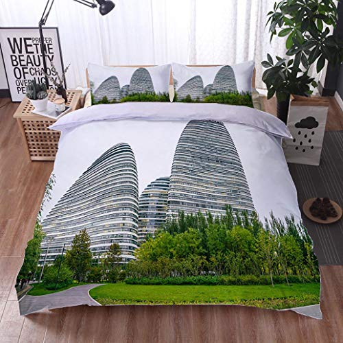 HOOMORE Bed Comforter - 3-Piece Duvet -All Season, Modern Curved Buildings at The Galaxy Soho Beijing,HypoallergenicDuvet-MachineWashable -Twin-Full-Queen-King-Home-Hotel -School - Soho Platform Bed Twin