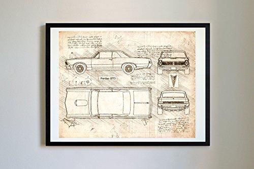 DolanPaperCo #301 Pontiac GTO 1965 Art Print Art Print, da Vinci Sketch - Unframed - Multiple Size/Color Options (16x20, ()