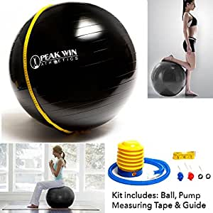 Anti-burst Exercise and Stability Ball with Pump, Training Guide, and. [Scroll Down for Details in the Description]