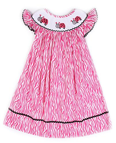 Babeeni Smocked Dresses for Girls Featured with Lovely Ladybug Patterns in Bishop Style (3Y)