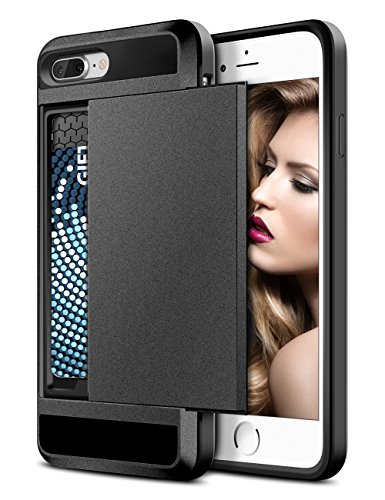 iPhone 8 Plus Case, Vofolen iPhone 8 Plus Wallet Case Card Holder Slot Dual Layer Hybrid Cover Shockproof Anti-Scratch Protective Hard Shell Tough Bumper Armor for iPhone 8 Plus 7 Plus (Matte Grey)