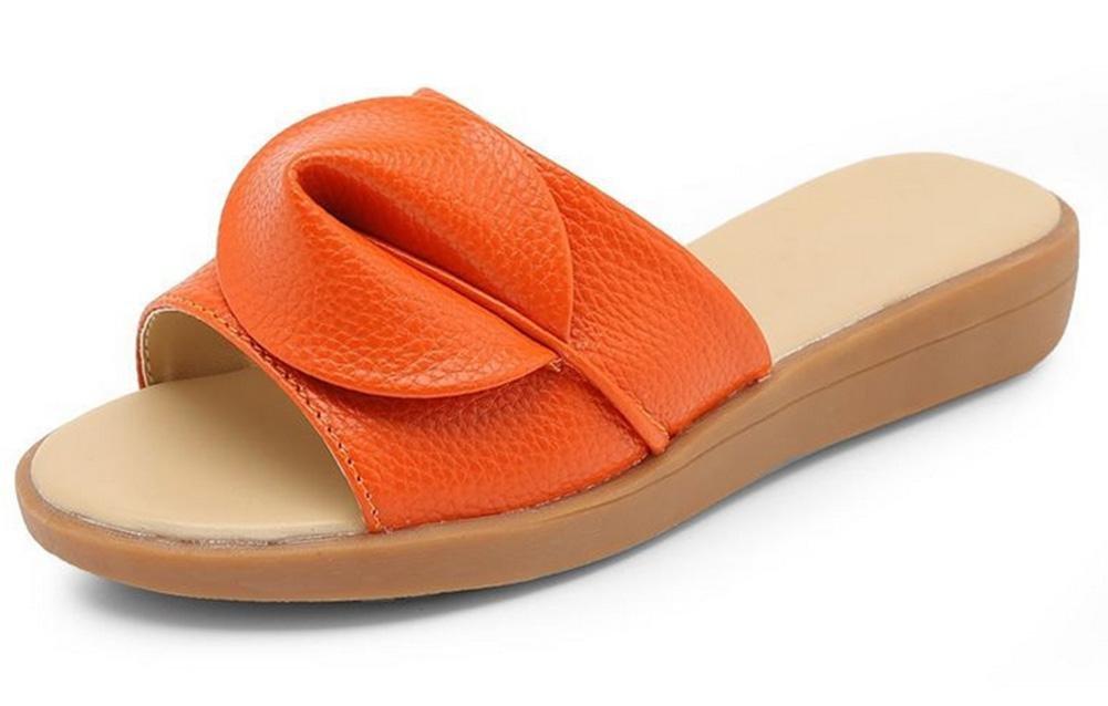 Xia Jiping weibliches Ende Sandalen und Pantoffel mit flachen Sandalen weibliche Art und Weise im Freien Sandalen und Pantoffeln orange