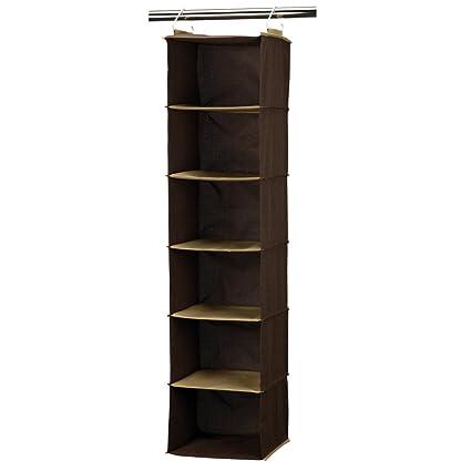 Merveilleux Household Essentials 6 Shelf Hanging Closet Organizer, Coffee Linen