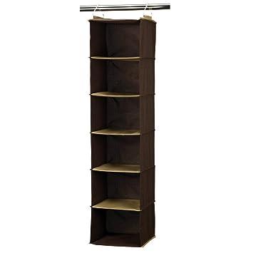 Good Household Essentials 6 Shelf Hanging Closet Organizer, Coffee Linen