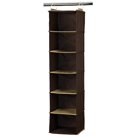 Household Essentials 6 Shelf Hanging Closet Organizer, Coffee Linen