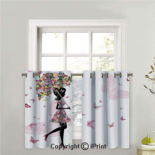 Kitchen Half Window Decorative Window Treatment Living Room,Energy Saving Curtain Tiers for Bathroom Shades,Girl with Floral Umbrella and Dress Walking with Butterflies Inspirational Art Print,42
