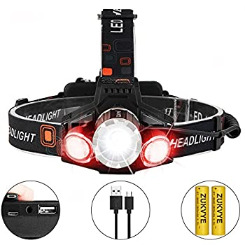 Zukvye Rechargeable LED headlamp, Super Bright LED 6000 Lumen Zoomable Waterproof red Headlight Flashlight for Cycling, Running, Dog Walking, Camping, Hiking, Fishing, Night Reading and DIY Works