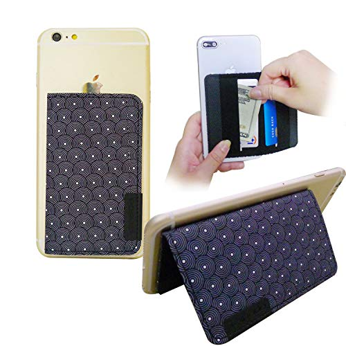 Tainada Stick On 3M Adhesive Flip Card Holder Multi-Card Slot Wallet ID, Credit Card Cash with Phone Stand Function for Most of Smartphones + Bonus Cord Wrapper (Circle Pattern Black)