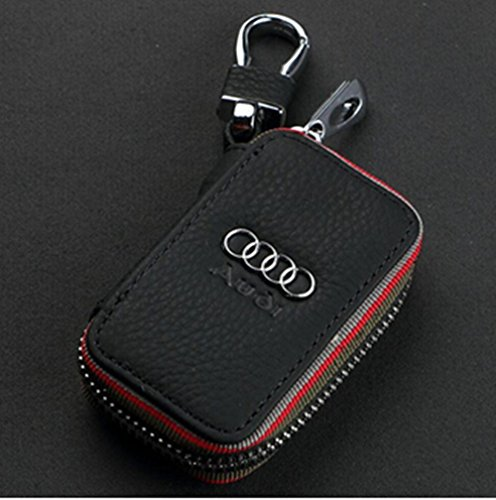Amooca Black Audi Premium Leather Car Key Chain Coin Holder Zipper Case Remote Wallet Bag