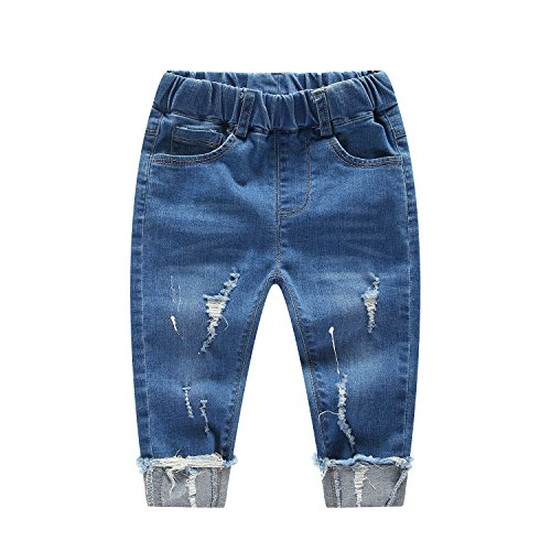 20eb01d88 Kidscool Baby & Little Boys/Girls Elastic Waist Ripped Denim Jeans Pants