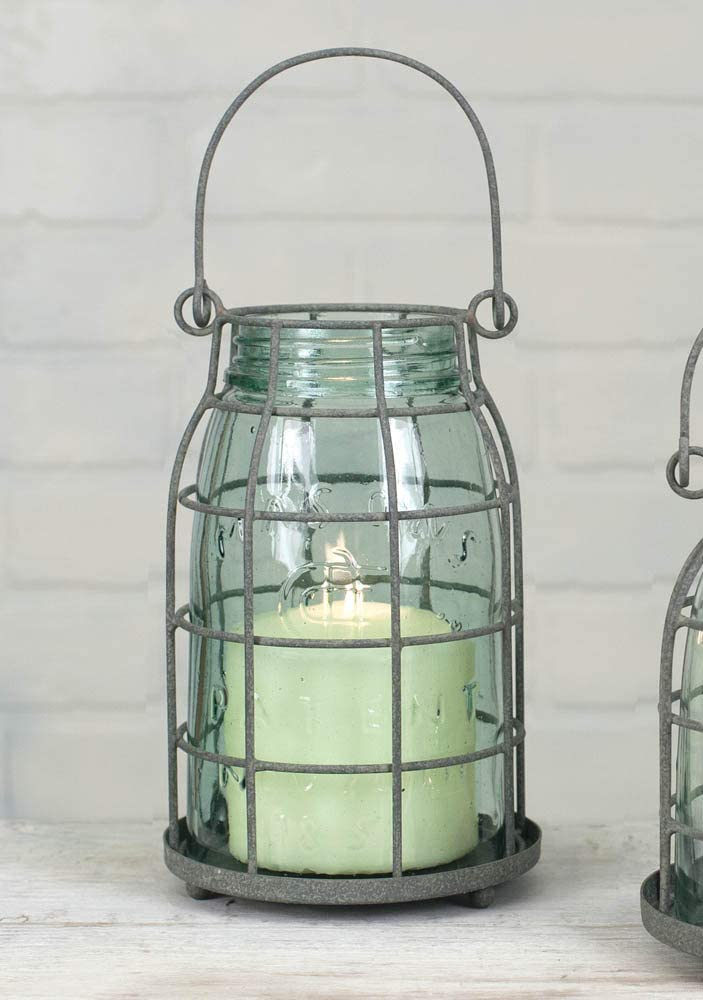 9.5 Inch Gray Stonebriar Rustic Galvanized Metal and Glass Candle Lantern with Handle