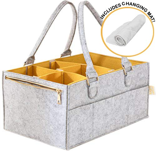 Baby Diaper Caddy and Changing Pad | Nursery, Changing Table Organizer, New Born Registry Must-Haves | Storage Basket, Box, Tote | Baby Shower Gift | Portable Car Travel | Unisex ()