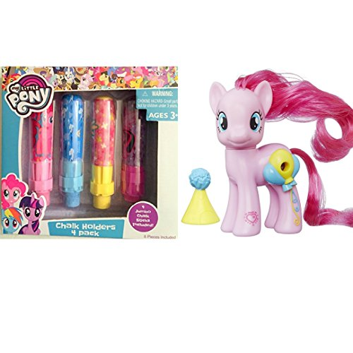 My Little Pony Toys Bundle Set My Little Piny Pinkie Pie and My Little Pony 4 Jumbo Chalk with Holders (4 Colors Pink, Blue, Yellow, Red)