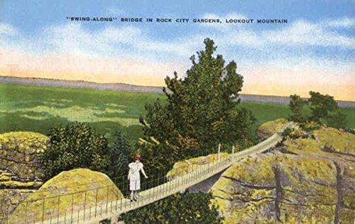 Along Swing Bridge - Swing Along Bridge, Lookout Mountain Rock City Gardens, Tennessee Original Vintage Postcard