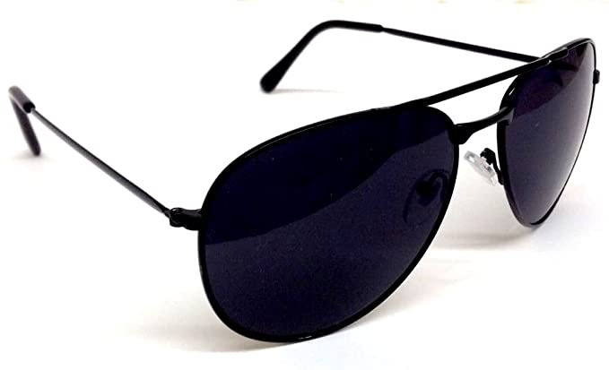 fb1383aed7de7 Amazon.com  Black Pilot Aviator Sunglasses Dark Lenses  Clothing