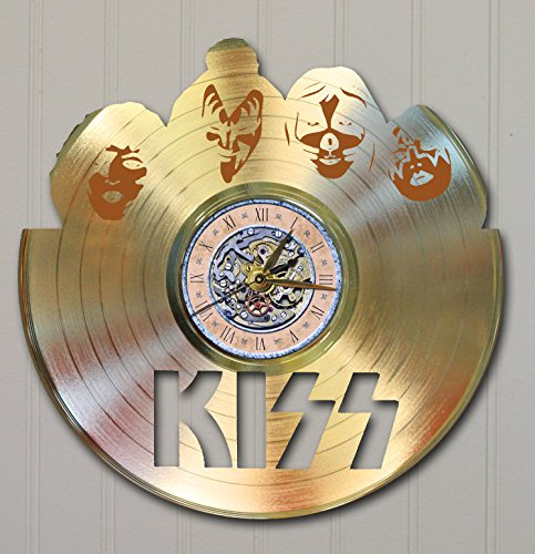 KISS Laser Cut Gold Plated LP Record Wall Clock