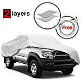 #9: KAKIT 2 Layers Truck Cover Windproof Dustproof Water Resistant Summer Outdoor UV Protection Car Cover for Truck, Free Windproof Ribbon & Anti-theft Lock, Fits up to 224