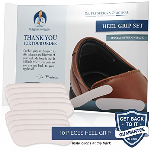 Dr. Frederick's Original Protective & Flexible Heel Grips Set - 10 Pieces - Adhesive Gel Heel Protectors to Prevent Blisters & Cuts - Heel Cushion Set for High Heels, Dress Shoes, Slip-Ons, and More by Dr. Frederick's Original (Image #1)