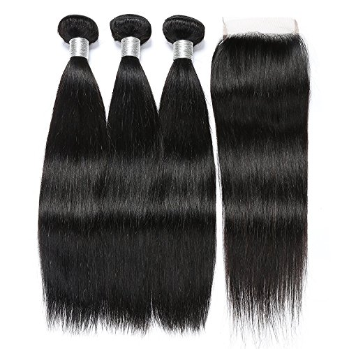 Brazilian Straight Hair With Closure 3 Bundles Unprocessed Virgin Human Hair Bundles With Lace Closure Free Part Hair Extensions Natural Color (20 22 24+18) by RUIMEISI
