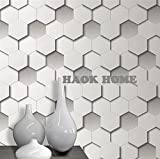 wallpaper hd co - HaokHome 08291 Modern Diamond Geometric Leather Textured Wallpaper Roll Grey Home Room Decoration 20.8
