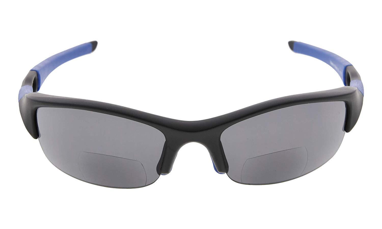TALLA +1.75. Eyekepper TR90 Irrompible Half-Rim Deportes gafas de sol bifocales Béisbol Running Fishing Driving Golf Softball Senderismo Gafas de lectura mate negro-azul marco gris lente +1.75