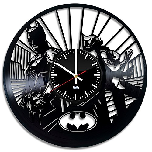 [Superhero Love Design Vinyl Record Wall Clock - Get unique bedroom wall decor - Gift ideas for adults and youth - Unique Comics Fan] (Robin From Arkham City Costumes)