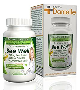 Dr. Danielle's Bee Well (Royal Jelly 1500mg, Propolis 1000mg, Beepollen 750mg) in 4 Daily Capsules by Doctor Danielle