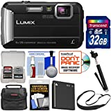 Panasonic Lumix DMC-TS30 Tough Shock & Waterproof Digital Camera (Black) with 32GB Card + Case + Battery + Selfie Stick Monopod + Sling Strap Kit