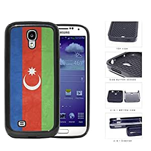 linJUN FENGAzerbaijan Flag Blue Red and Green with Crescent Moon Grunge 2-Piece High Impact Dual Layer Black Silicone Cell Phone Case iPhone 4 4s
