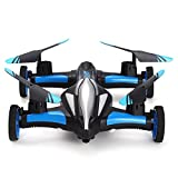 JJRC H23 Air Ground Flying Car 4CH 3D Flips One Key Return RC Drone Quadcopter (Blue)