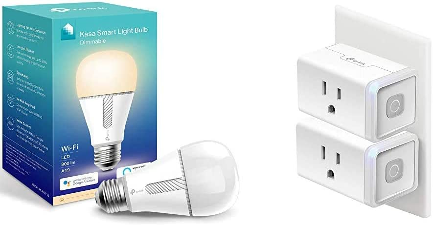Kasa Smart Light Bulb & Smart Plug, WiFi Outlet Works with Alexa, Echo and Google Home, No Hub Required, Remote Control, 12 Amp, UL Certified, 2-Pack (HS103P2)