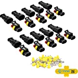 E-TING 10 Kit 2 Pin Way Waterproof Electrical Wire Connector Plug
