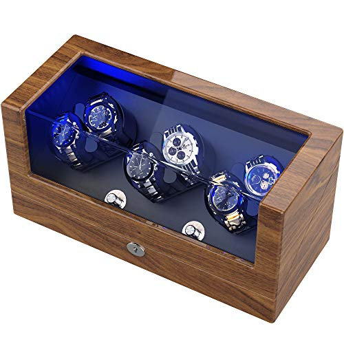 TRIPLE TREE Watch Winder, for Rolex Automatic Watches with Flexible Watch Pillows, Wooden Shell, Powered by Japanese Motor, Built-in LED Illuminated, USB Power Cord(Pine Bark Pattern/Wood Pattern)