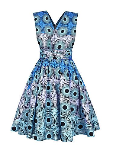 Envoltura Delgado Del Que Cintura Yfltz La Vestido Mujeres Salen Blue De Alta V Profunda qg8wHgTx