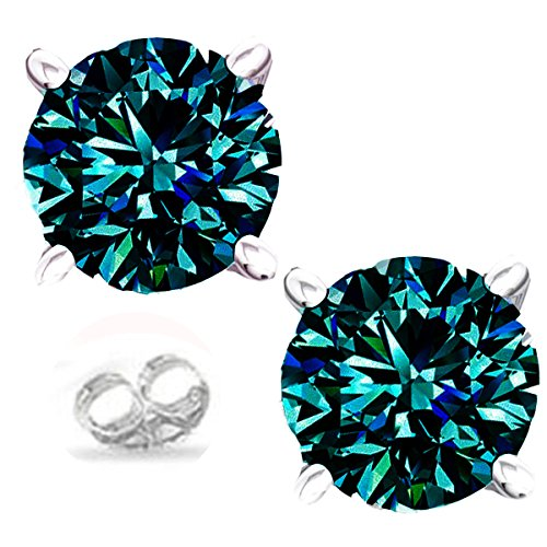- RINGJEWEL Silver Plated Round Real Moissanite Stud Earrings (1.40 Ct,Blue Green Color,VVS1 Clarity)