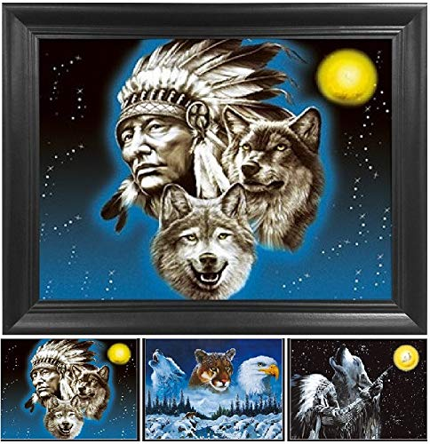 Wolf Indian Poster - Native American Chief & Wolf 3D Poster Wall Art Decor Framed Print | 14.5x18.5 | Lenticular Posters & Pictures | Memorabilia Gifts for Guys & Girls Bedroom| Colorful Indian Artwork & Home Decorations