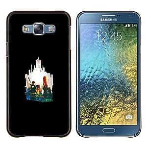 LECELL--Funda protectora / Cubierta / Piel For Samsung Galaxy E7 E700 -- Silueta de la ciudad --