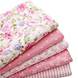 5 piezas de tela de algodón 100% para coser y acolchar con diseño de patchwork, 40 x 50 cm, Rosado, 1